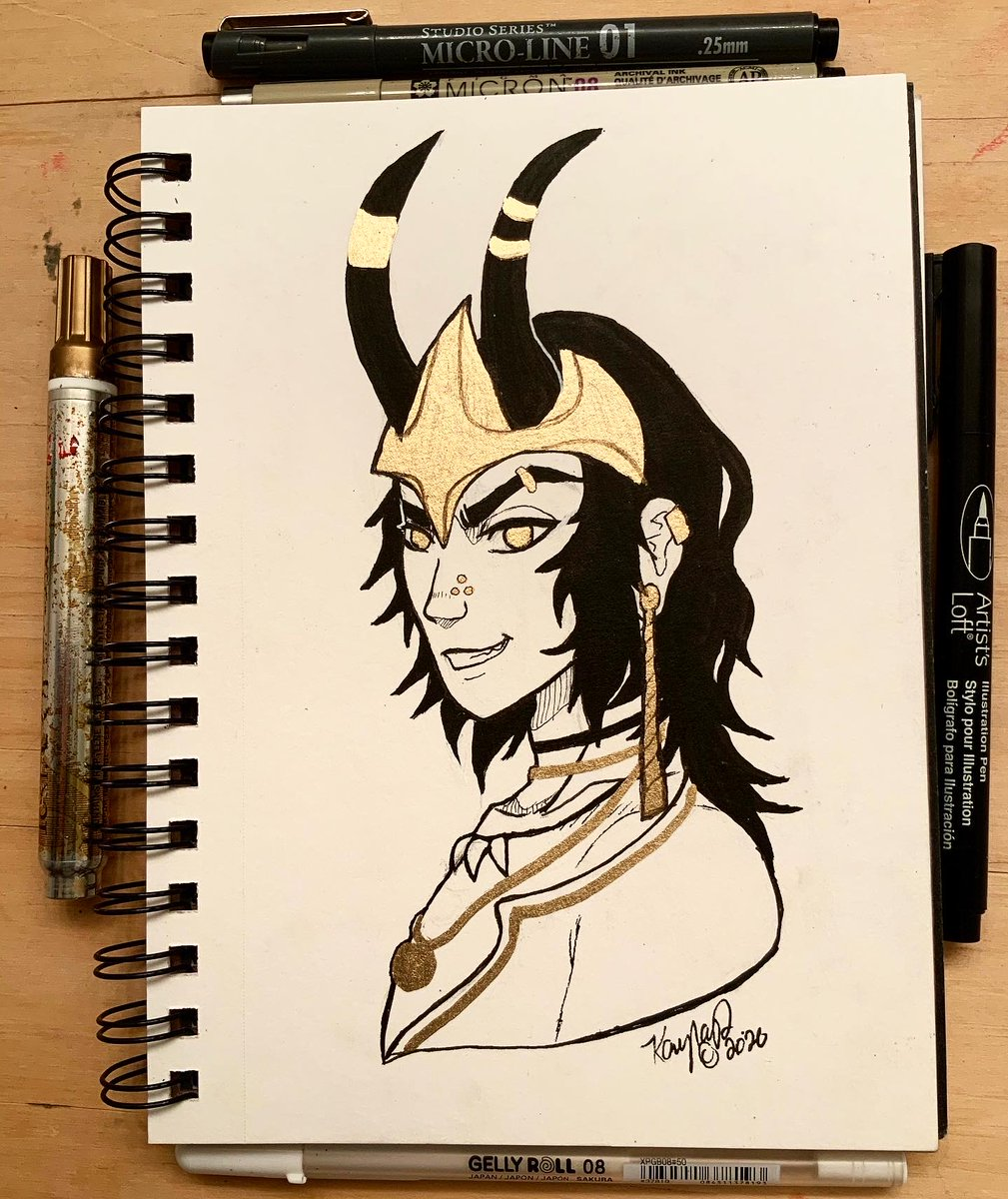 Day 27 - Loki #Loki #trickstergod #norse #norsemythology #mythtober #mythology #mythtobersks #penandink #goldink #Artober2020 https://t.co/I7OUII9bJR