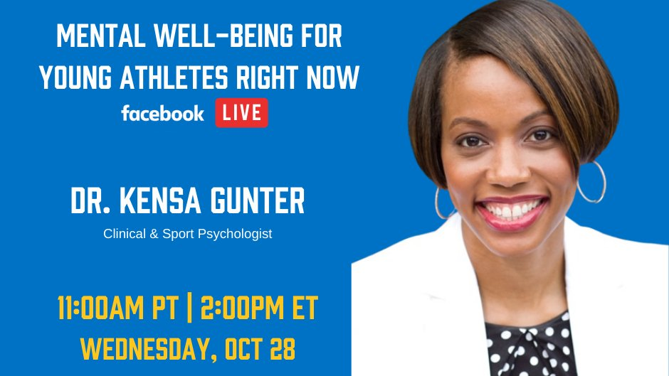 REMINDER: Join us at 11am PT for a conversation between  @DrKensa and @jrsacks22 on Mental Well-Being For Youth Athletes Right Now on Facebook Live! Register for free here: https://t.co/fpykquYAHA https://t.co/4xPIlhnR8k