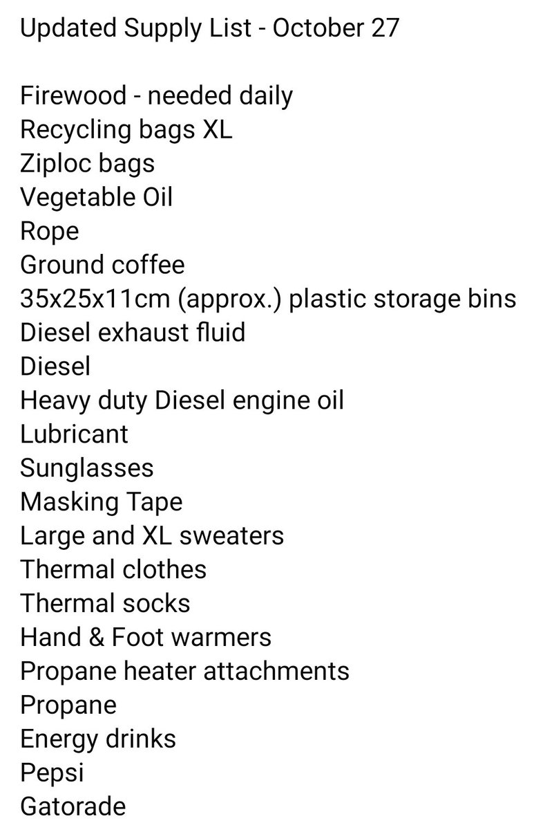 List of supplies needed at #1492LandBackLane Message on Facebook to arrange deliveries 💜 nya:węh