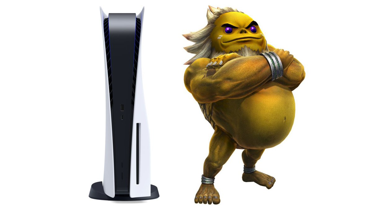 PS5 next to Gorons to gauge its size.