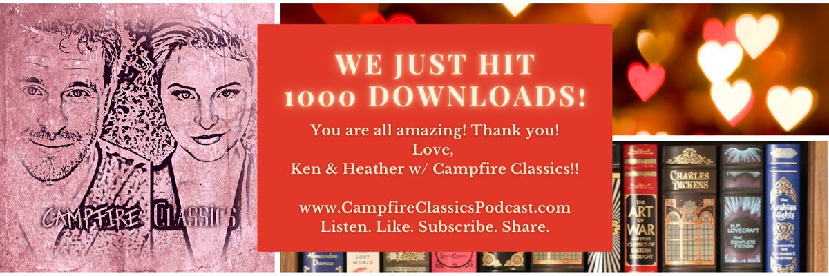 1000 Downloads! We love you and we wanna do this for a long time! Keep Listening, Liking, Subscribing and Sharing!!   Head to https://t.co/zwhe5Wk2Qp or listen wherever you get podcasts.  Love, Ken and Heather w/@CampfireClassi1   #podcast #milestone #laughteristhebestmedicine https://t.co/x3kmw7bCWp