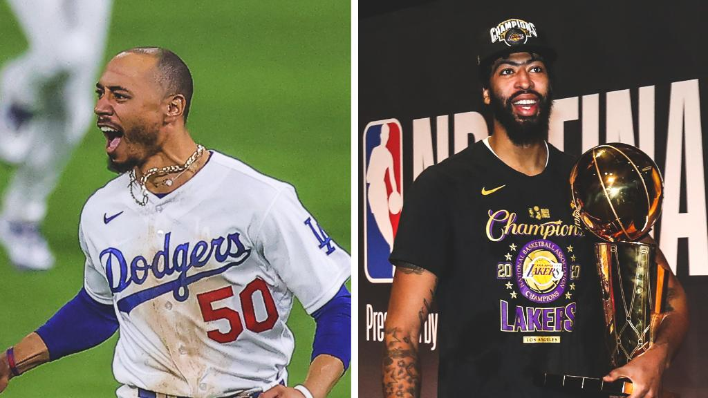 Traded to Los Angeles last offseason ✅  Put up superstar numbers ✅  Delivered a championship in their first year in the city ✅  @mookiebetts @AntDavis23 https://t.co/mJseq3KiEu