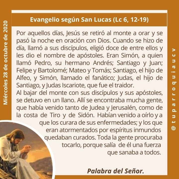 #EvangelioDeHoy #EvangelioDelDía #28Oct #Cuarentena #QuédateEnCasa #UnidosEnLaFe #EnTodoAmarYServir #JesuitasDeVenezuela https://t.co/NP1Brstrpl