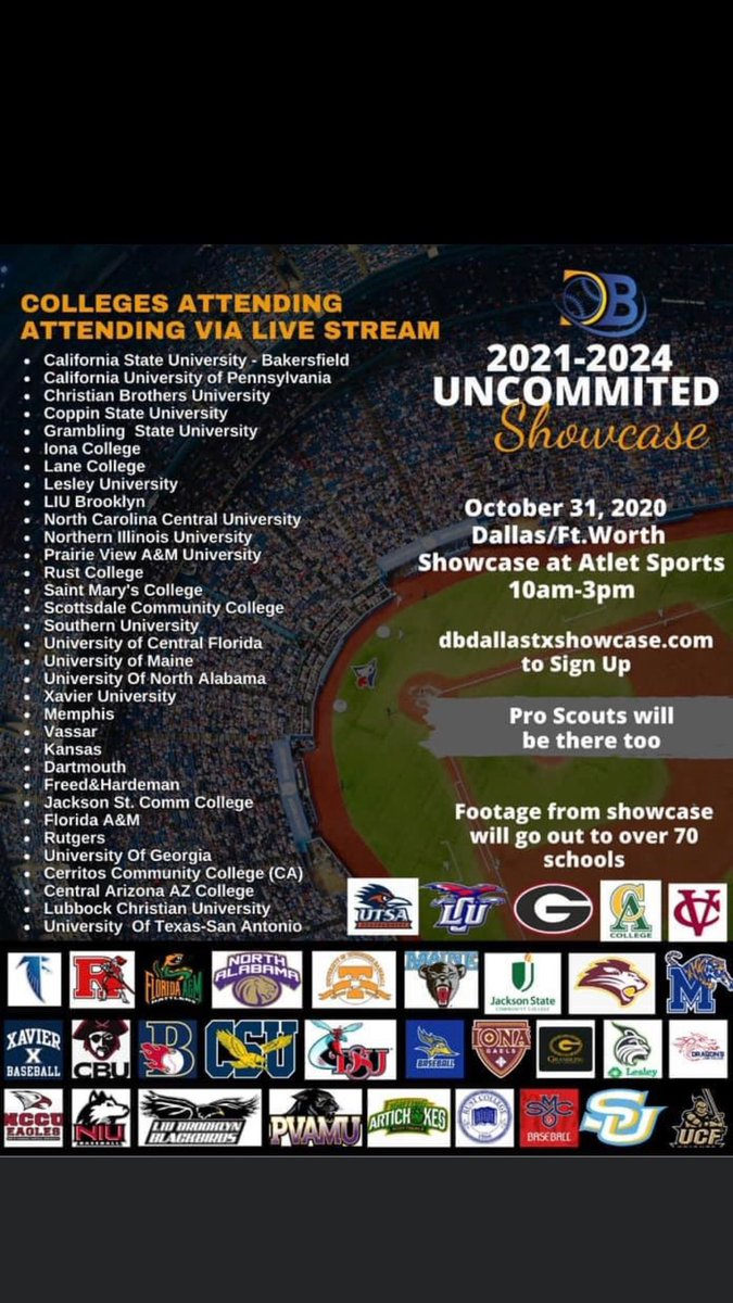 @atletsports is excited to host @deebrownbaseball this weekend for a virtual and recorded showcases for the following school.  Any players interested in these schools please register at the link on the flyer. The event is this Saturday!  #baseball #collegebaseball #deebrown https://t.co/ubRzdmhGKf