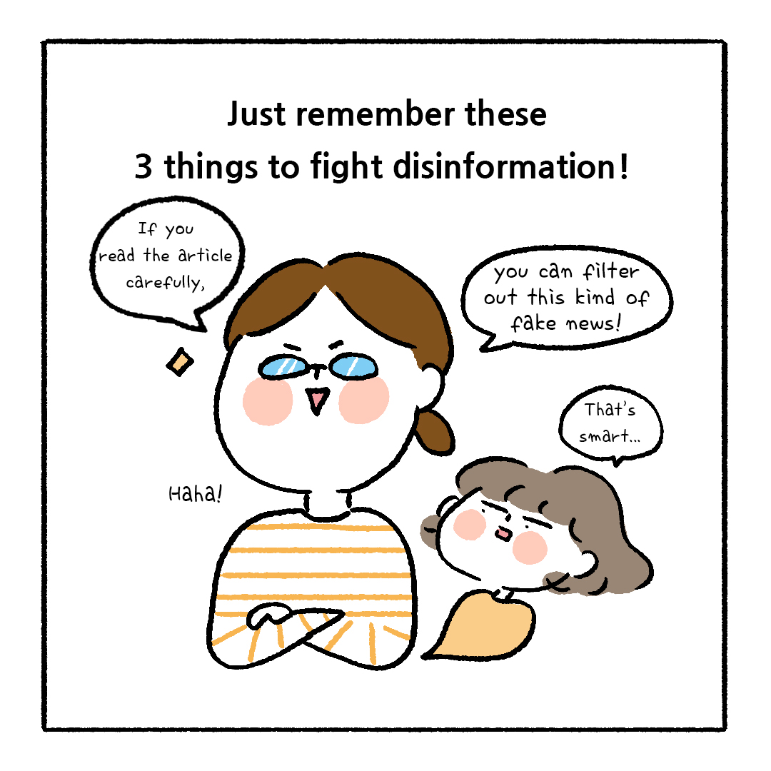 📲 How can we fight disinformation?   Follow the simple 3 tips from this cartoon! (2/3)  💻 Join the 2020 #GlobalMILWeek events on 24-31 Oct:  #ThinkBeforeSharing