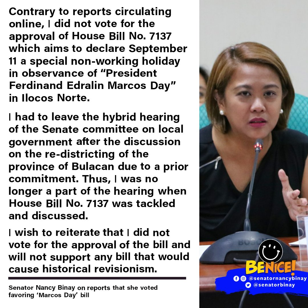 """Contrary to reports circulating online, I did not vote for the approval of House Bill No. 7137 which aims to declare September 11 a special non-working holiday in observance of """"President Ferdinand Edralin Marcos Day"""" in Ilocos Norte. https://t.co/giZ0dIJATy"""