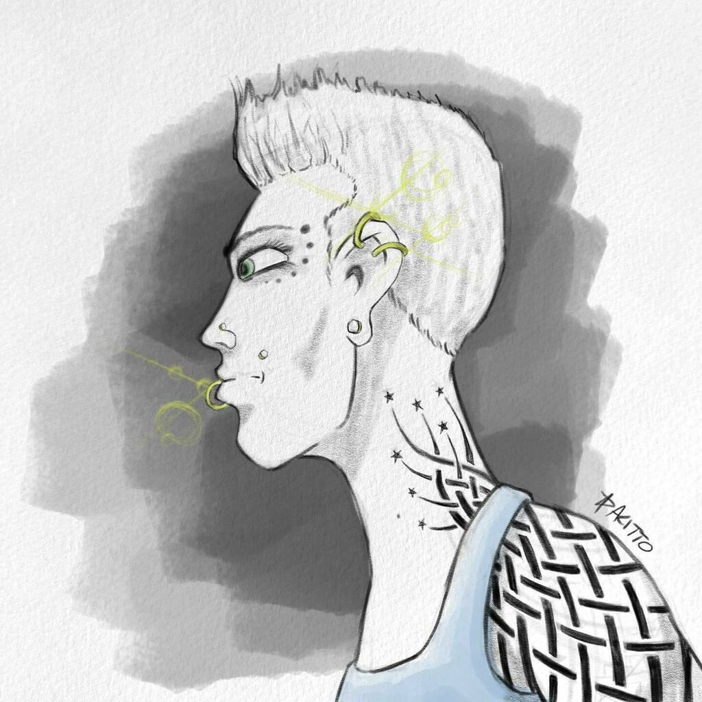 OuterEdgeComics: Sketch! #sketch #sketchbookpro #tattoo #tribal #shorthair #piercings #punk #stars #inked https://t.co/FveMuPkw6I https://t.co/zI6zsctZ5g