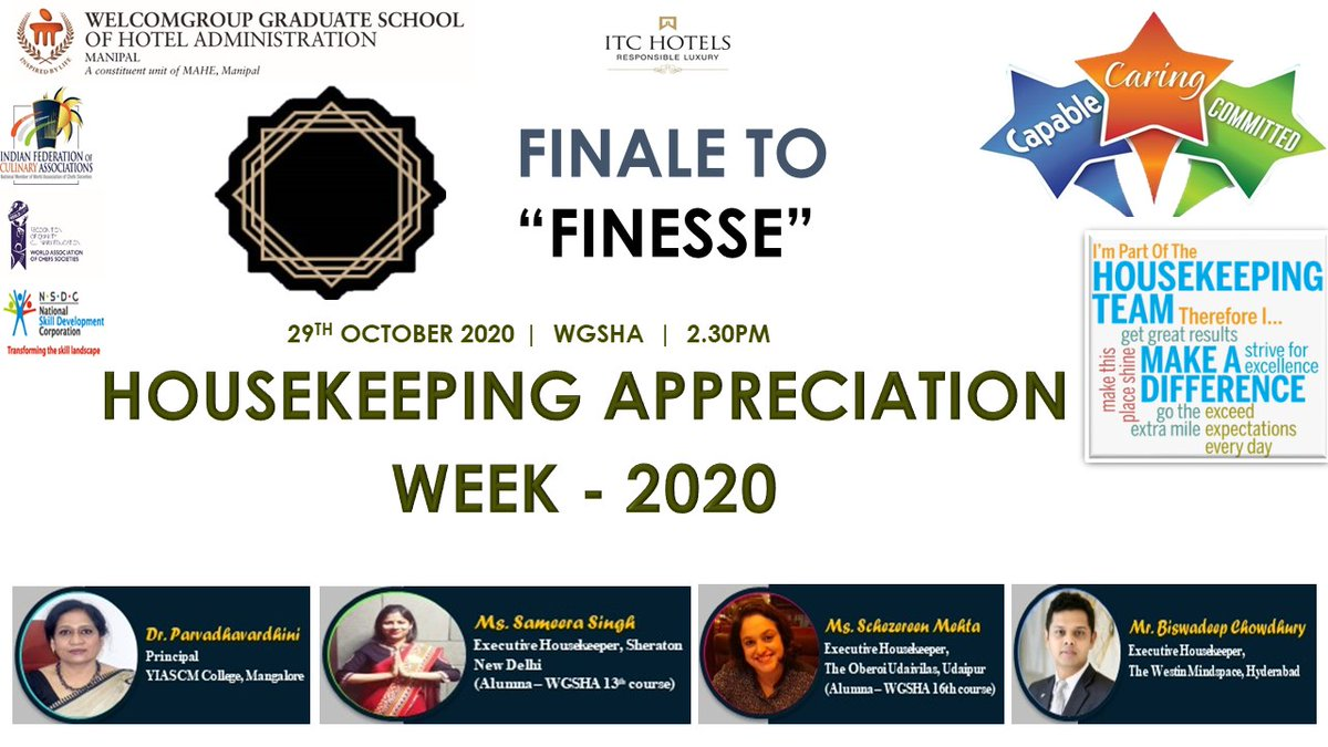 "WGSHA is happy to organize an online event - FINALE TO ""FINESSE"", Housekeeping Appreciation Week  represents a special opportunity to acknowledge the outstanding efforts of the housekeeping professionals and thank them for a job well done. #housekeeping  #appreciation  #Online https://t.co/uKGMJAlsWa"
