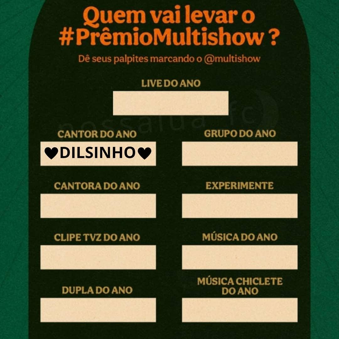 """Quem está votando muuuuuuito para o """"bi"""" acontecer curte aí 🙏🏼😍🌙 #dilsinho #dilsinhofc #premiomultishow2020 #cantordoano #multishow #pagode #boravotar"""