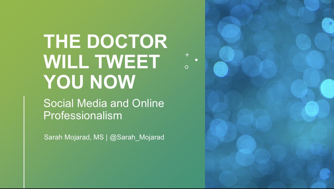"Hey! Let's have some fun tonight. I can't remember the last time I tweeted a lecture.  A thread on ""the doctor will tweet you now: social media and online professionalism"" https://t.co/Q23YjEJbE4"