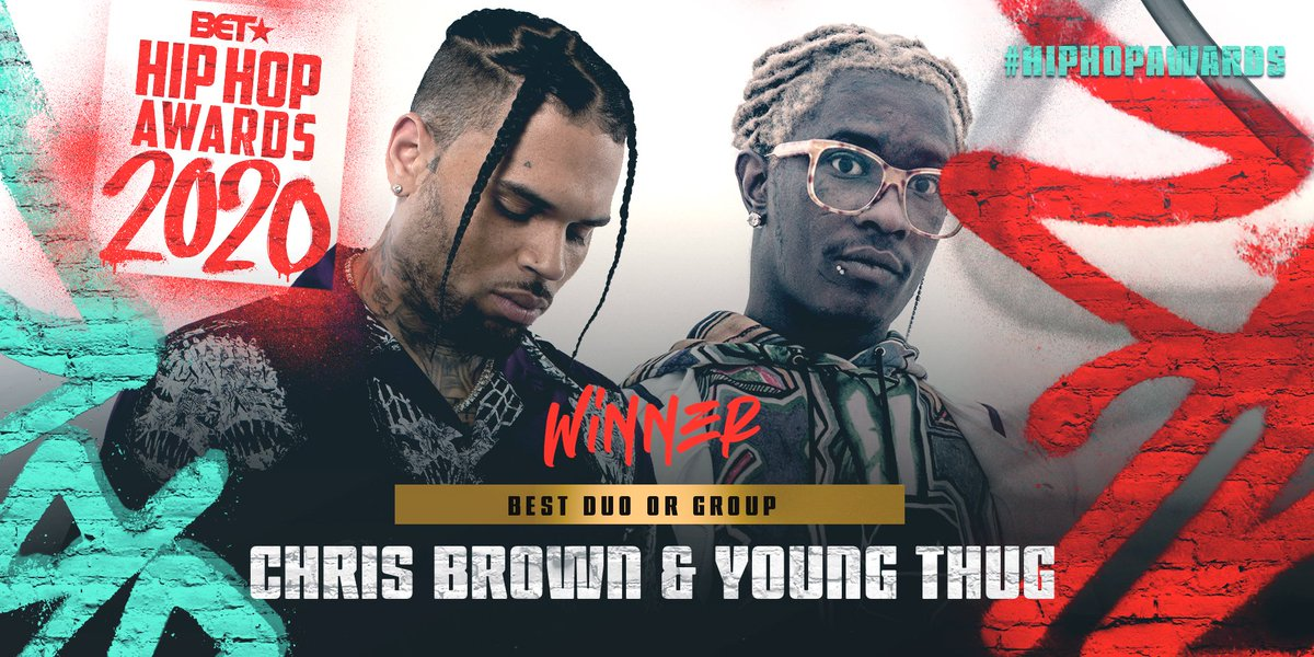 Replying to @BET: Congrats to @ChrisBrown & @YoungThug for winning Best Duo or Group! #HipHopAwards
