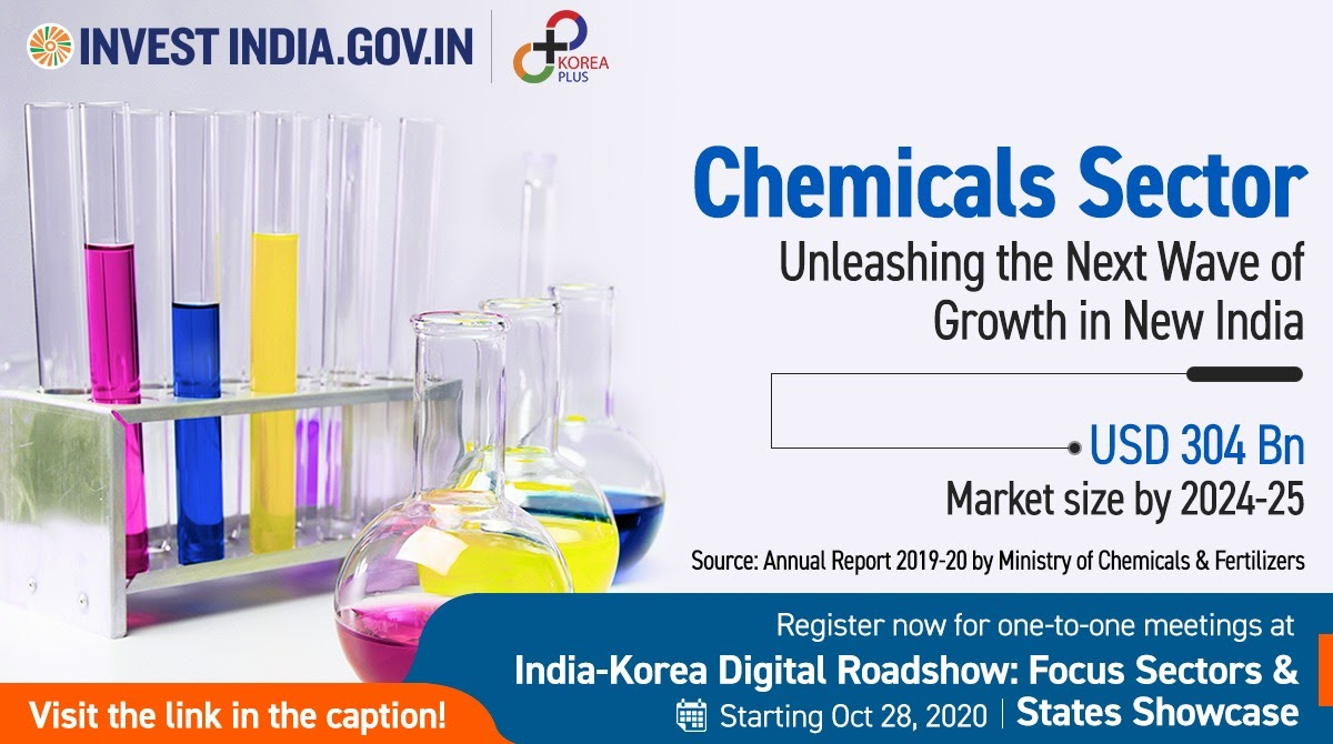 #InvestInIndia  #NewIndia's chemical sector is expected to record an annual growth rate of 9.3% till 2025! Explore more at our exclusive webinar, register now - https://t.co/CY4MrSLc7k  #Chemicals @MOFAkr_eng https://t.co/R5pFcWod5e