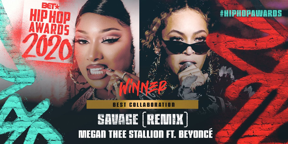 Congrats to @theestallion & @beyonce for winning Best Collaboration for Savage (Remix) 🤘🏾🐝 #HipHopAwards https://t.co/zONfkIVdLu