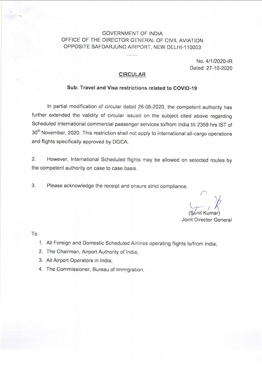 The @DGCAIndia has via a circular issued on the 27th October 2020 extended the suspension of scheduled international passenger services to and from India till 2359 hrs IST on 30th November 2020 This suspension does not apply to flights specifically approved by the DGCA #aviation https://t.co/zy63jCsaUY