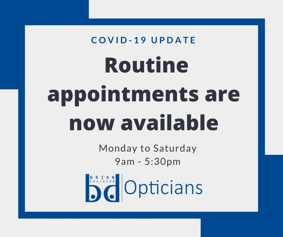A reminder that routine eye examinations are available again.  Call 01382 221333 to book your appointment.  #Independent #Optician #Dundee #EyeTest https://t.co/WFyL3EPHk4