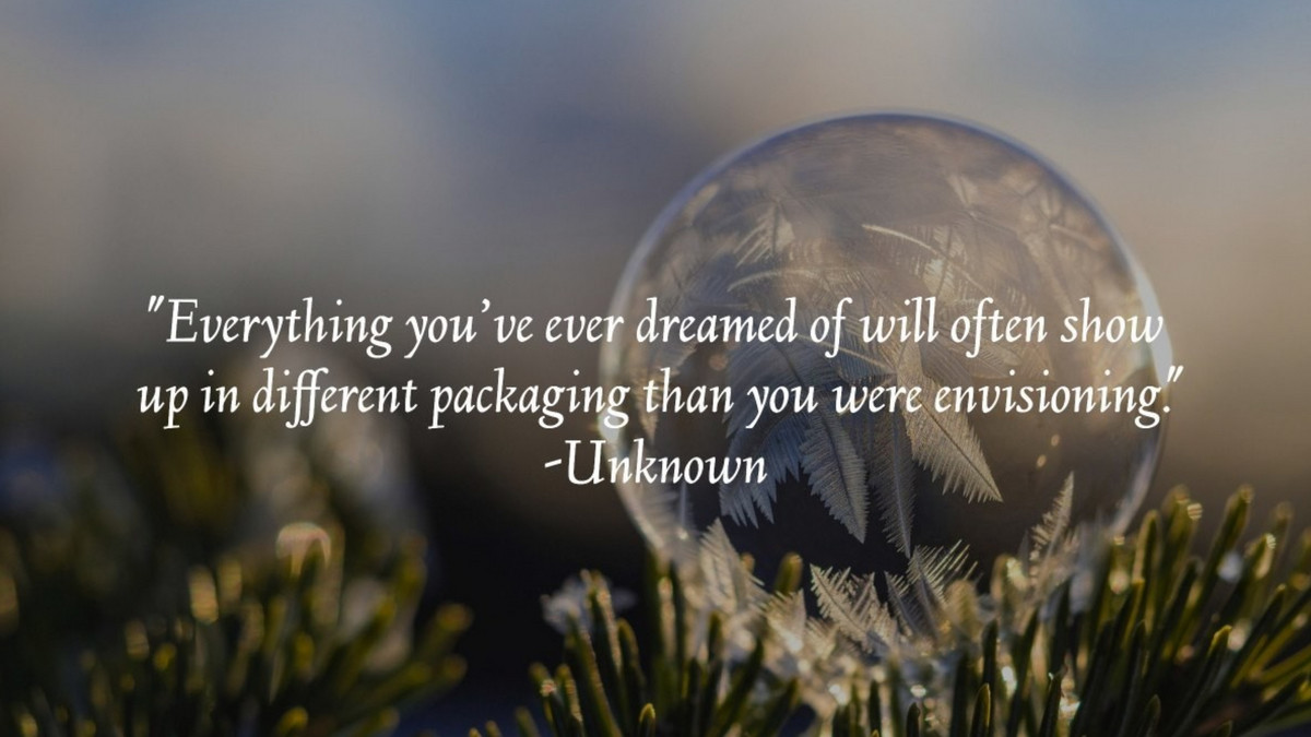 """""""Everything you've ever dreamed of will often show  up in different packaging than you were envisioning."""" -Unknown #dreaming https://t.co/lB1G5bPcaa"""