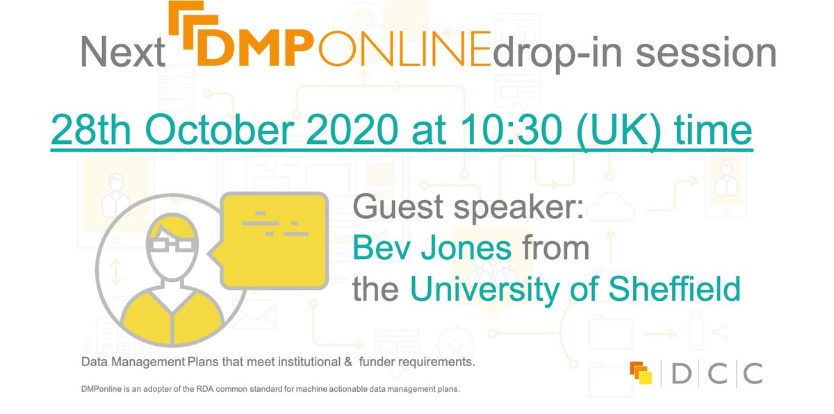 Today at 10:30 BST we are running #DMPonline drop-in session where we will be joined by Bev Jones from the University of Sheffield! Join us: https://t.co/nqwI29kpeu and share with your colleagues!  #digitalcuration https://t.co/yl9rBTXBoe