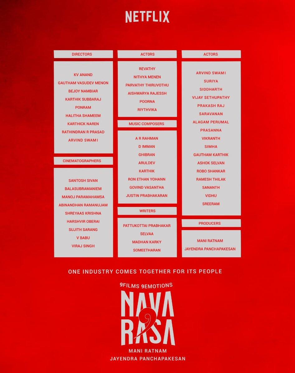 Oh boy.what a dreamy 'cast n crew' this is......!#Navarasa #Netflix 🔥💯 https://t.co/KoENgEpR1n