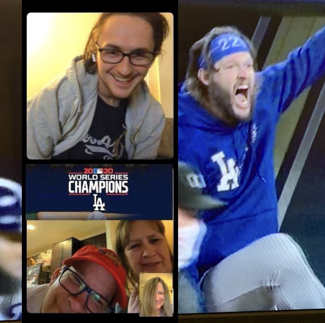 💙 Reed Family FaceTime watching the boys in blue win it all 💙 2020 World Series Champions Los Angeles Dodgers 💙 #dodgers #worldchampions #mlb #2020worldseries #losangeles #dodgersandlakers #la #lakers #family #baseball #losangelesdodgers #dodgersbaseball #ilovela https://t.co/RYtFhVZn8O