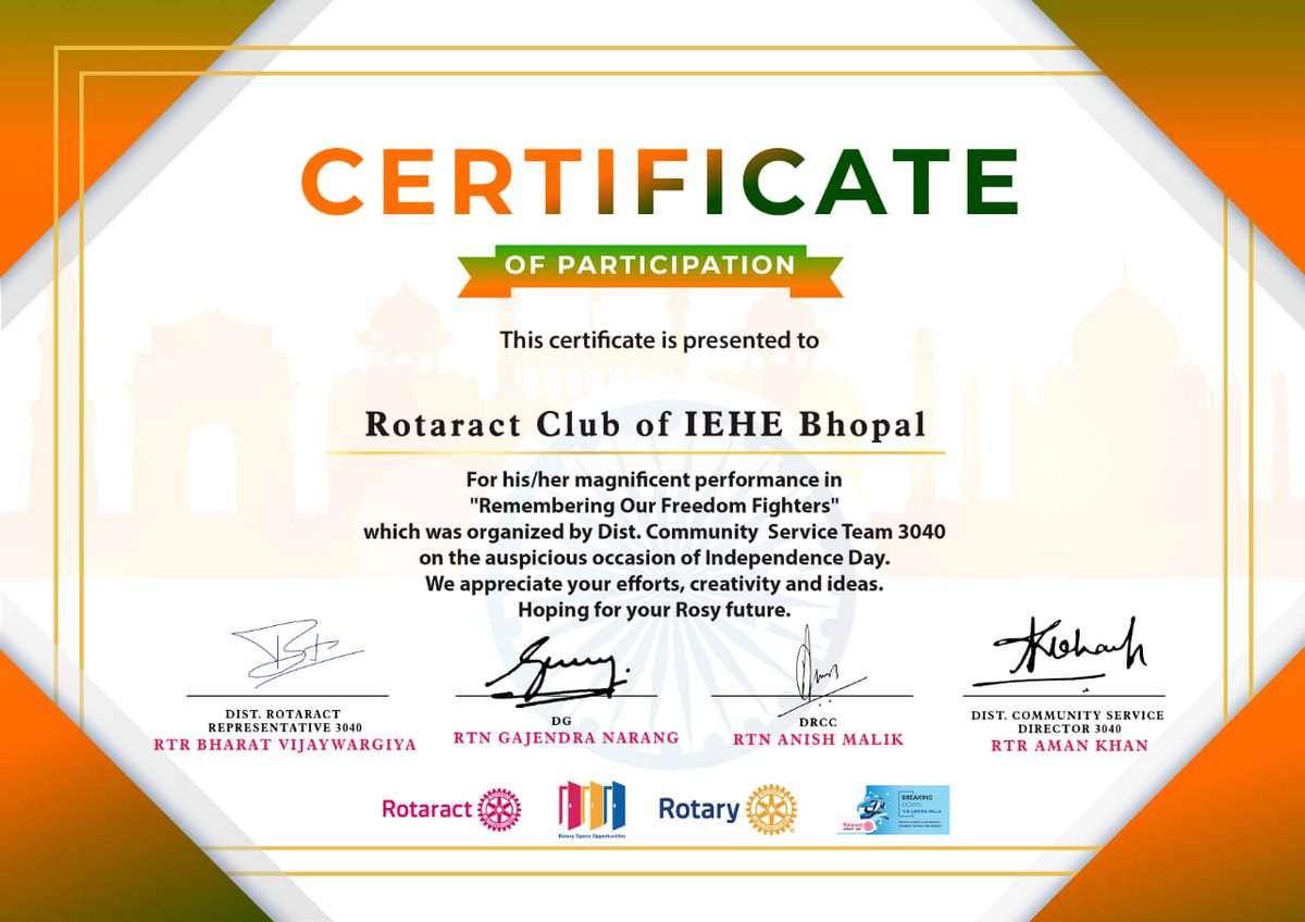 "ROTARACT CLUB OF IEHE BHOPAL got certificate for magnificent performance in ""Remembering Our Freedom Fighters"" which was organized by Dist. Community Service Team 3040 on Independence day. #appreciation  @Rotary3040  @Rotary @rotaract @RotaryGBI @RotaryES https://t.co/sTcBnlCNgs"