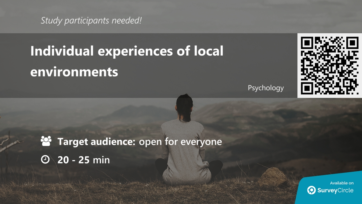 """Participants needed for top-ranked study on SurveyCircle:  """"Individual experiences of local environments"""" https://t.co/Pg4gN5Sai5 via @SurveyCircle  #environment #GlobalWarming #GreenCriminology #criminology #climate #research #survey #surveycircle https://t.co/c2bGrRUzUQ"""