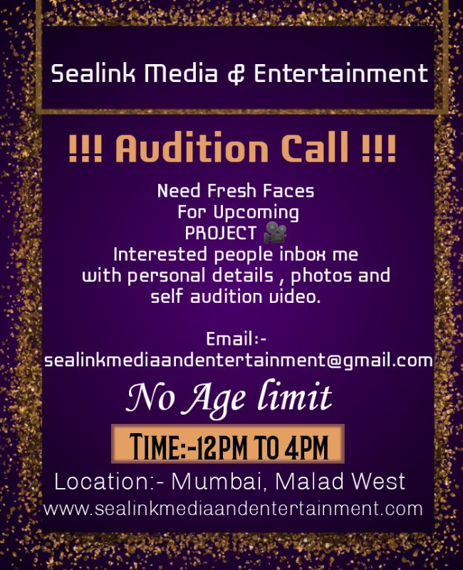 Interest people inbox me .#sealinkmediaandentertainment #media #entertainment #acting #castingcall #portfolio #actors #auditions #face #photoshoot #webseries #serialshooters #moviescenes #entertainer #shooting #series #mumbai #fashion #casting #actress #freshface #newfaces https://t.co/MJPGntzOcE