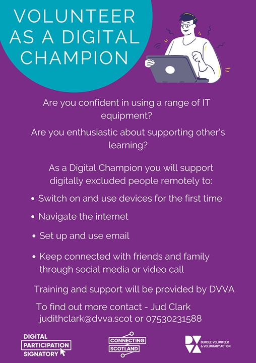 You can help us as a #volunteer to level up #Dundee & get people online who are digitally excluded so they can enjoy all the benefits others currently do. Find out more...  https://t.co/KPhr5C5vay  #DVA #DundeeTSI #MakeADifference @DundeeVolAction https://t.co/xvV7YwB6wp