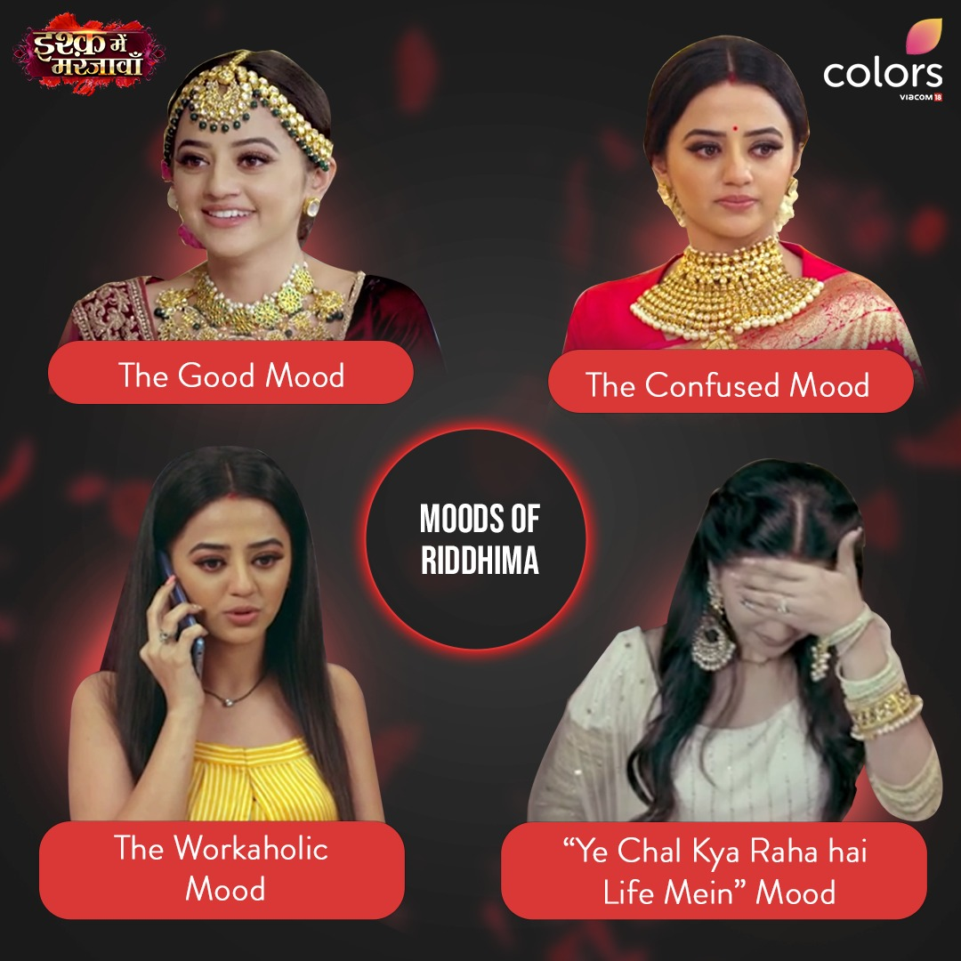 Which mood do you connect with the most?  Watch Riddhima on #IMMJ everyday at 7 PM only on #Colors.  Anytime on @justvoot   @OfficialHelly7 https://t.co/k5iXhGVwVx