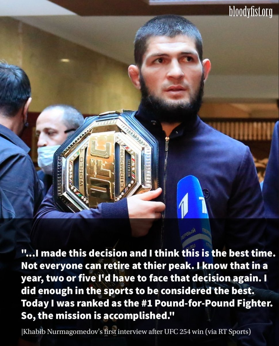 Khabib says he's done enough to be done with the sport. . #ufc254 #ufcfightisland #khabibvsgaethje #khabibnurmagomedov #justingaethje #danawhite #mma #ufc #boxing #bjj #muaythai #kickboxing #jiujitsu #fitness #martialarts #wrestling #fight #grappling #fighter #training #judo https://t.co/d6A0jdYpf2