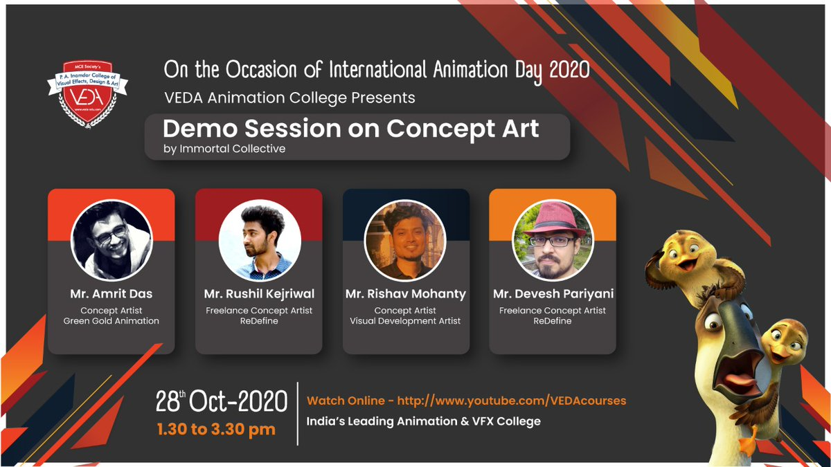 Don't miss the super exciting #livedemo on #ConceptArt by #ImmortalCollective on the #InternationalAnimationDay, Today from 1.30 to 3.30 pm. Endeavor with us on a fascinating journey to shine #India in the #AVGC industry. https://t.co/0J5L7o5F1R #professional #conceptartist #veda https://t.co/n7UhyYcRdG