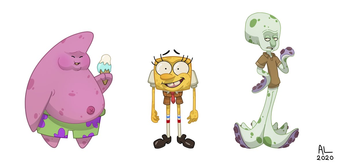 I redesigned #SpongeBob for you.  @NickAnimation @Nickelodeon #Patrickstar #Squidward #MrsPuff #MrKrabs #characterdesign #conceptart https://t.co/y1AkZFeGGm