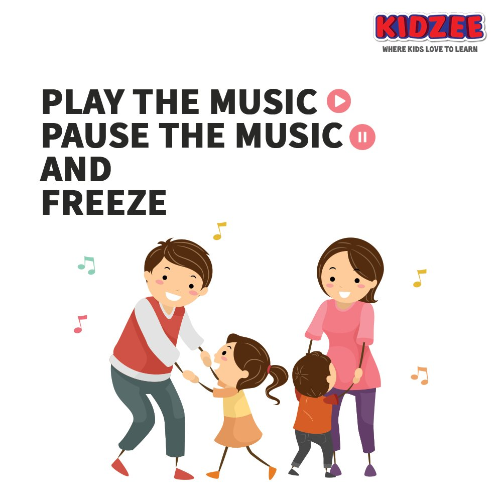 """To make this pandemic fun & exciting at home, let's play a game called """"Freeze"""".  All you've got to do is: Play the music & dance till the music stops & ask everyone to freeze in the position they are in.  #Kidzee #KidzeeStudents #IndoorGames #Games #Indoor #Fun #FunGames https://t.co/PHPokNYlFE"""