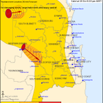 Image for the Tweet beginning: QLD Severe Thunderstorm Warning: Large