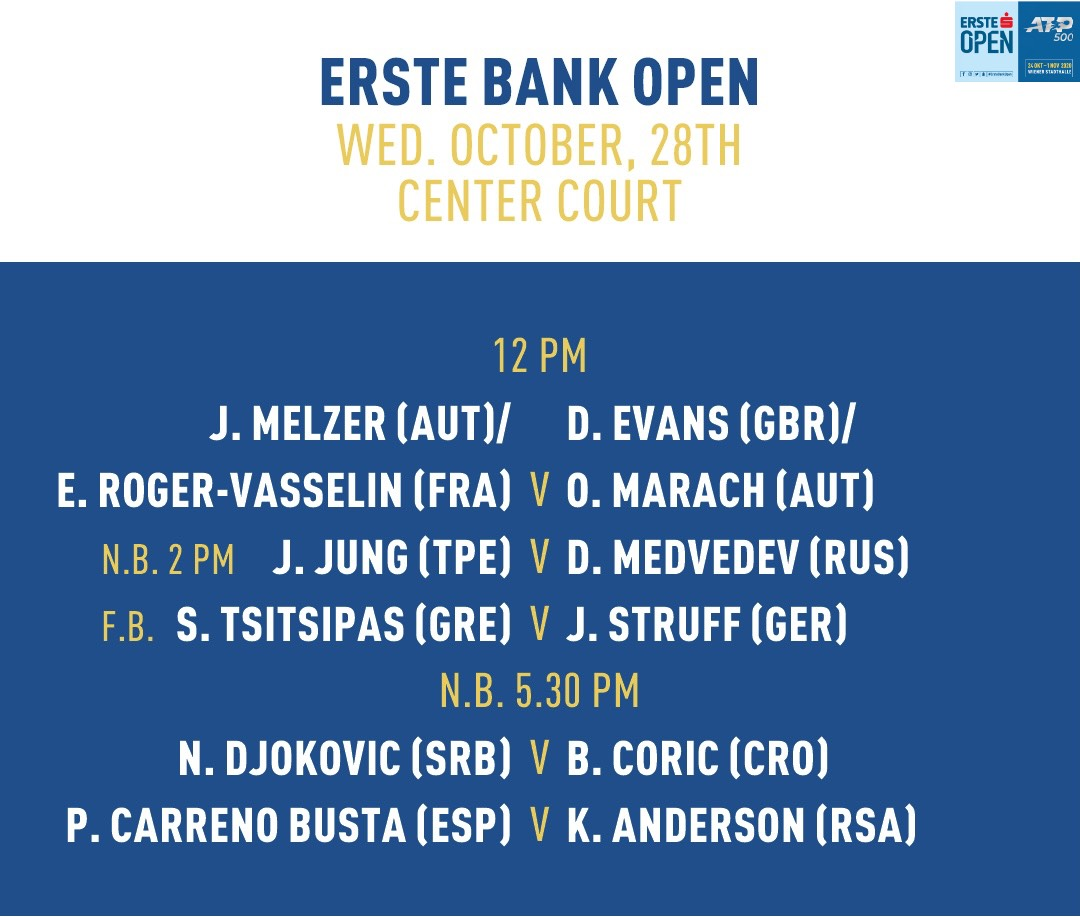 Today's matches on Center Court #ErsteBankOpen https://t.co/fmiRhP2hTO