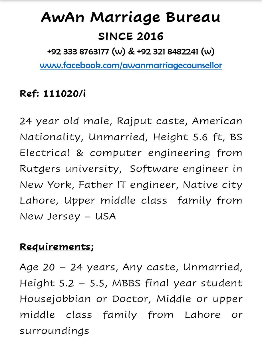 #Male #Rajput #Unmarried #American #Nationality  #BS #Electrical #Computer #Engineering #Lahore #NewJersey #USA  #AMB https://t.co/rnpO19dvF0