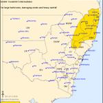 Image for the Tweet beginning: NSW Severe Thunderstorm Warning: Large