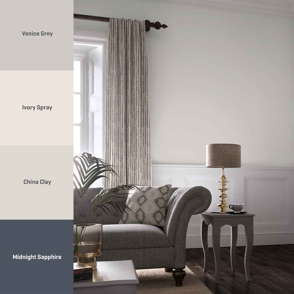 Venice Grey works well with a mix of warm neutrals and deep blue shades – try this colour scheme to create a calming environment in your home with a contemporary yet classic feel to it! 🎨 Venice Grey 🎨 Ivory Spray 🎨 China Clay 🎨 Midnight Sapphire