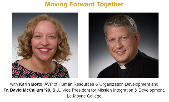 This afternoon, join @LeMoyne administrators Fr. David McCallum, SJ and Karin Botto for a webinar on using #Ignatian spirituality to move forward together after #Election2020. Register online and tune in at 12 PM ET:  #JesuitEducated
