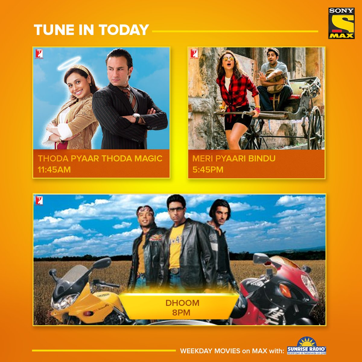 What's your #FridayFeeling?  Pick from some magic, action and romance!  #SonyMAXUK  #MAXUK #BollywoodMovies #Bollywood #BollywoodActor #Bollywood #ThodaPyaarThodaMagic #MeriPyaariBindu #Dhoom