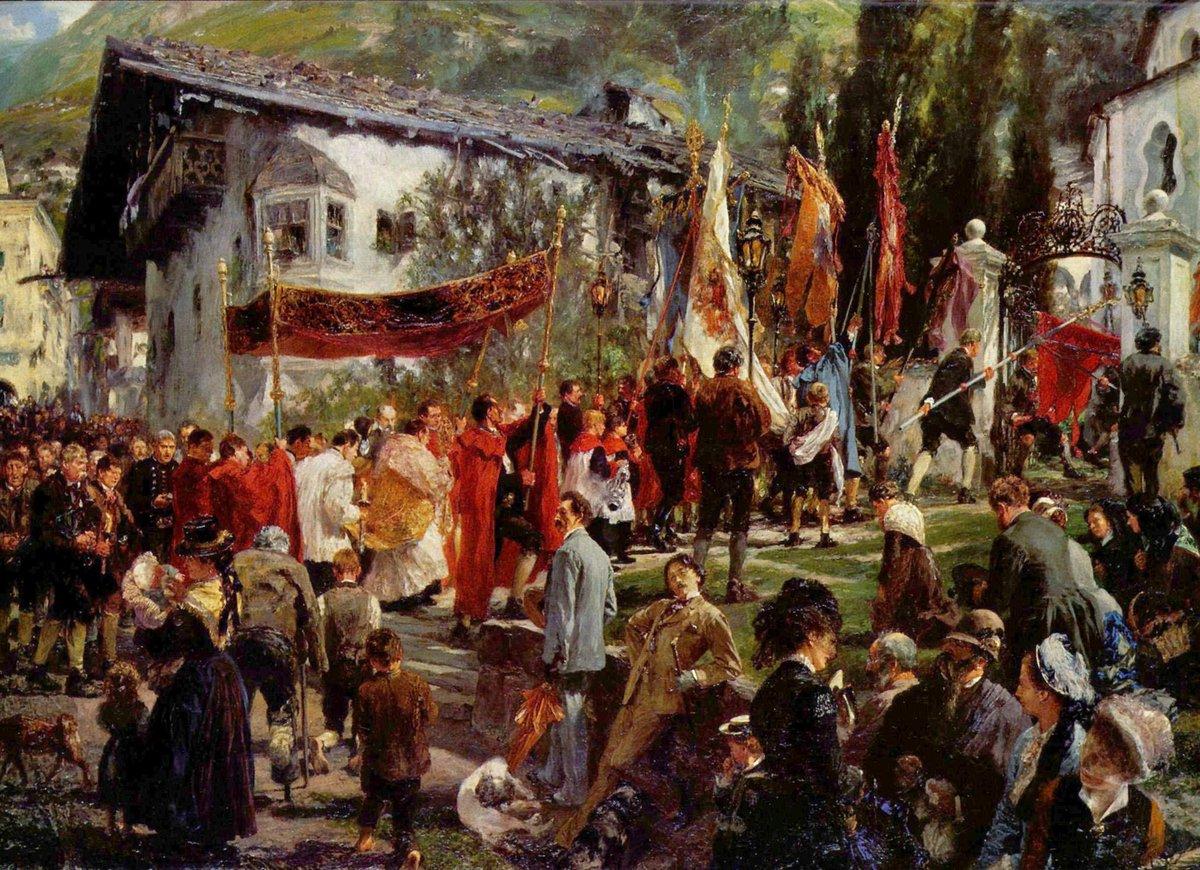 """Adolph Friedrich Erdmann von Menzel (December 8, 1815 – February 9, 1905) was a German Realist artist. """"Fronleichnamsprozession in Hofgastein, 1880"""" """"Supper at the Ball, 1878"""" """"Weekday in Paris, 1869"""" """"The Meeting of Frederick II and Joseph II in Neisse in 1769, 1857"""""""