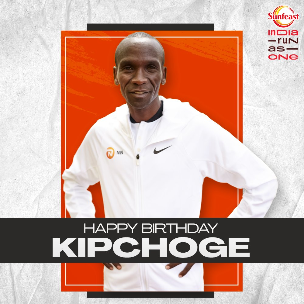 To the man who only gets faster year by year. Many many happy returns of the day to the sub-two marathon man and the G.O.A.T! 🥳  It's always a treat to watch you run. ❤️  @EliudKipchoge  #SunfeastIndiaRunAsOne #LivelihoodsMatter.