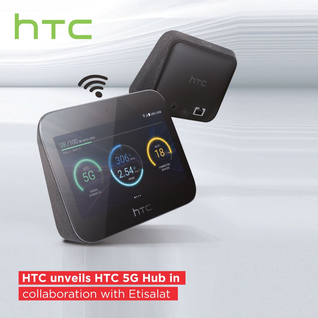 Our business partner @HTCMEA unveiled HTC 5G Hub in collaboration with @etisalat! The portable device provides ultra-fast internet speeds for browsing, 4K video streaming and gaming, with exciting future updates to allow wireless VR streams through VIVE headsets. https://t.co/ryWaztlwW4