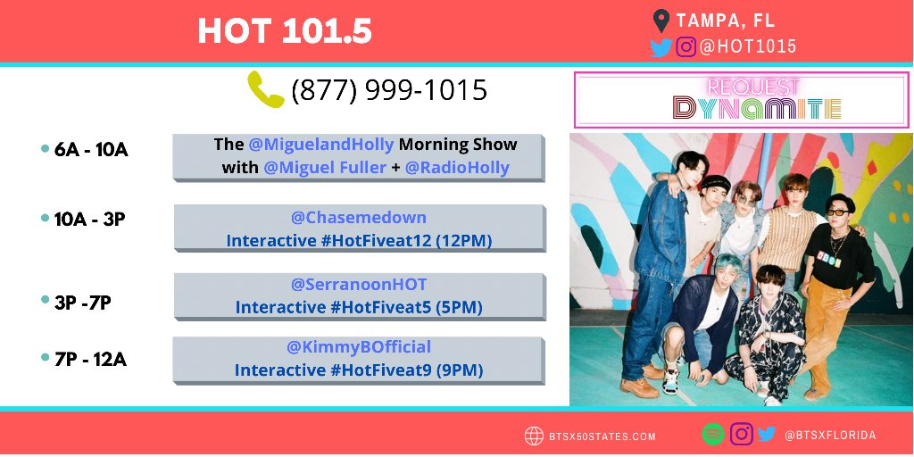 [@HOT1015 PLAYING SOON]  #BTS_Dynamite by @BTS_twt is playing soon on @Hot1015!  ✅ Download their app. ✅ Give the song a 👍🏻 and hit the 🔔! ✅ Shazam & tag @BTSonShazam. ✅ Take a screenshot/vid & post it!  🔗: https://t.co/WbH9LJNEBf https://t.co/fKU82tMFua