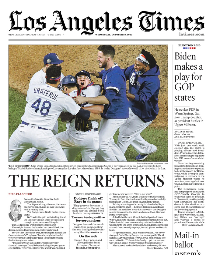 Good morning @Dodgers fans from the @latimes. https://t.co/jUEjF17vpy