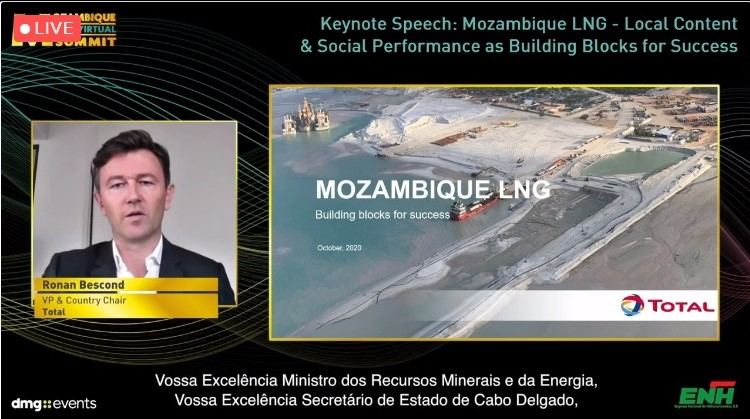 Great to hear from Ronan BESCOND, VP and Country Chair, Total!   Great update on the construction status of #MozambiqueLNG project with at least 5,000 jobs during the construction phase, 1,500 long term jobs in operations and a strong community engagement program in Cabo Delgado. https://t.co/pGK4HvBGYV