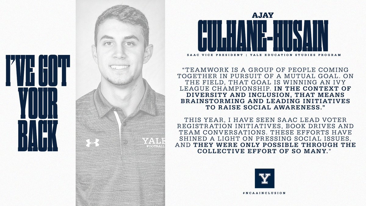 Ive seen SAAC lead voter registration initiatives, book drives & team conversations. These efforts have shined a light on pressing social issues & were only possible through the collective effort of so many. 🗣 Ajay Culhane-Husain | @YaleFootball #ThisIsYale | #NCAAInclusion