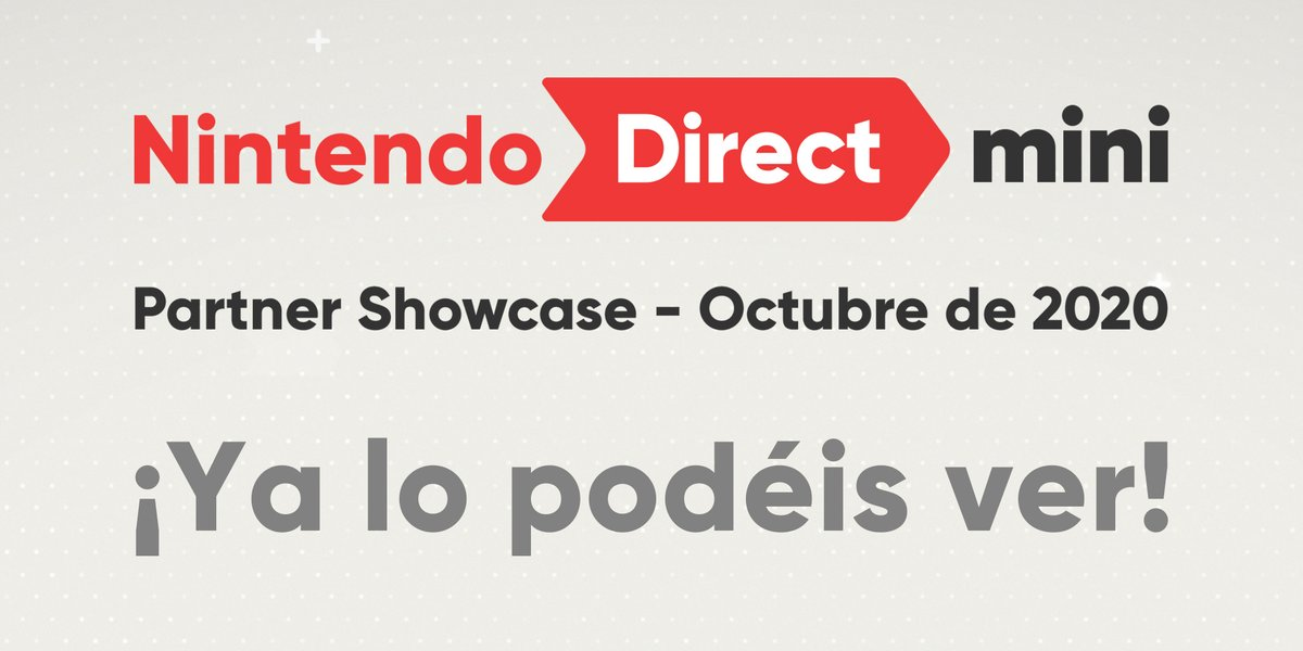 ¡Ya está aquí el último #NintendoDirectMini: Partner Showcase de este año! No te pierdas las novedades más recientes sobre los próximos juegos para #NintendoSwitch de nuestros socios desarrolladores y distribuidores.  👉 https://t.co/aDrlBcQYng https://t.co/SXJW7LErTZ