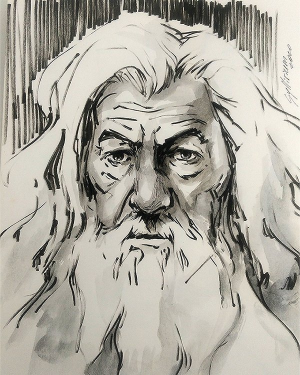 Very quick and very loose Monday sketch of Gandalf. Started as a dry brush testing and ended up like... well, like this. https://t.co/vN9cNlsbNE https://t.co/69ZflsjD1p #inktober2020 #gandalf #lotr #theHobbit #IanMcKellen https://t.co/jdcMe9Sriu