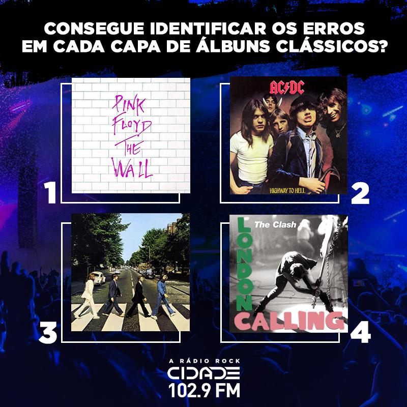 Se você for capaz, identifique e comente quais são os quatro erros nesses álbuns clássicos do rock! 🎧  #RadioCidade #ARadioRockdoRio #desafio #rock #musica https://t.co/FkctsYe39h