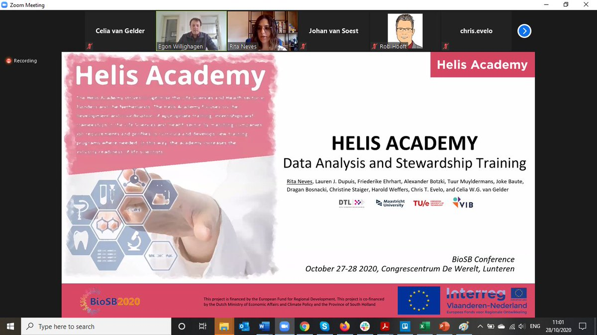 Today Rita Neves from @TUeindhoven is presenting @AcademyHelis data analysis and stewardship training in the #BioSB2020 session on #FAIR resources and #training! https://t.co/0oOVsSiXl6 https://t.co/9d8Ebx7ko4